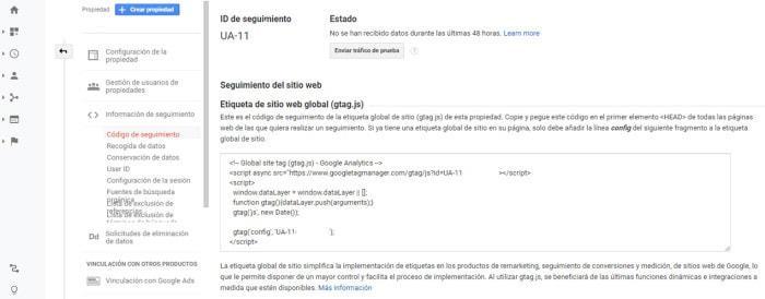 incrustar código de seguimiento google analytics