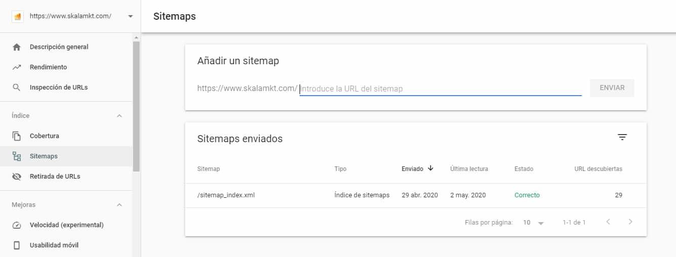 como anadir sitemap en search console