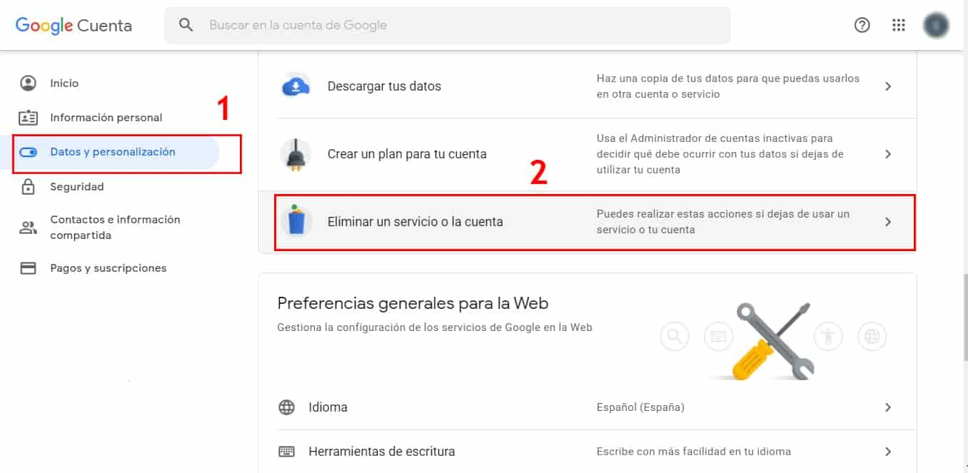 cómo eliminar cuenta de google