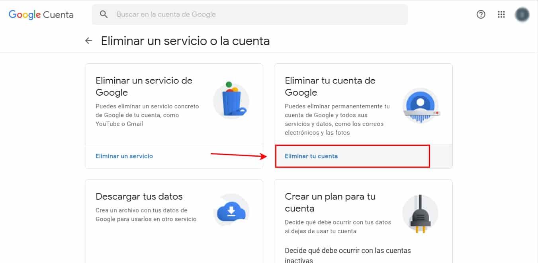 desactivar cuenta de google
