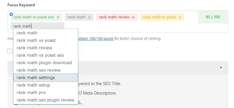 rank math keywords