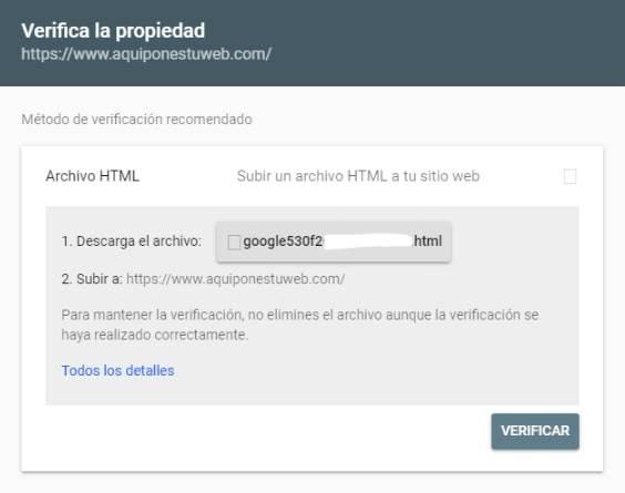 verificar propiedad google search console