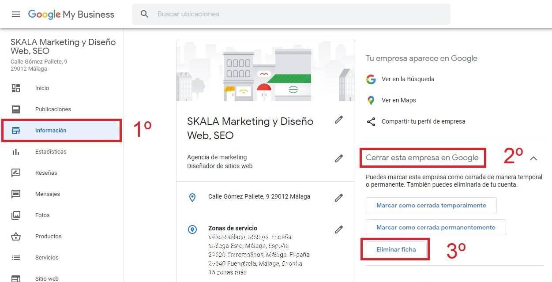 pasos eliminar ficha google my business